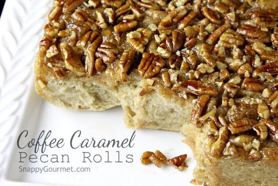 Coffee Caramel Pecan Rolls, easy breakfast cinnamon roll recipe infused with coffee   SnappyGourmet.com