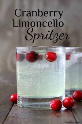 Cranberry Limoncello Spritzer Cocktail Recipe - an easy Limoncello drink recipe. SnappyGourmet.com