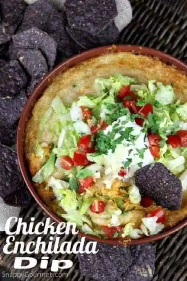 Chicken Enchilada Dip, an easy homemade Mexican inspired appetizer or snack. Delicious Super Bowl food! SnappyGourmet.com