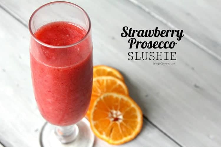 Strawberry Prosecco Slushie Recipe - An easy cocktail with prosecco and frozen strawberries. SnappyGourmet.com