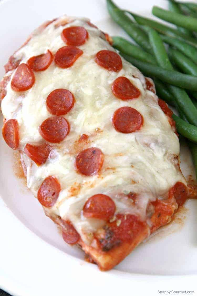 Pizza Chicken with sauce, cheese, and pepperoni