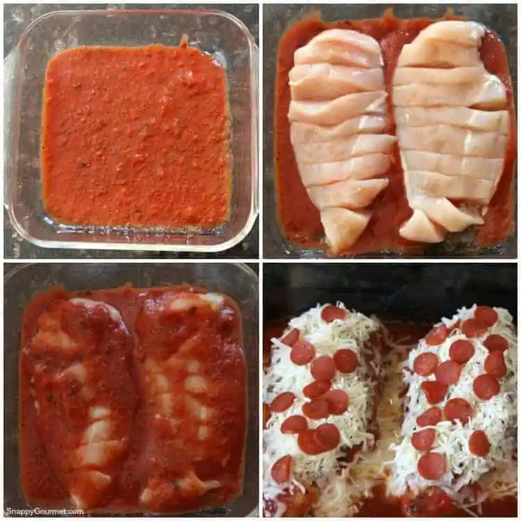 Easy Pizza Chicken Recipe - The best pizza chicken with tomato sauce, seasoning, cheese, and pepperoni! SnappyGourmet.com