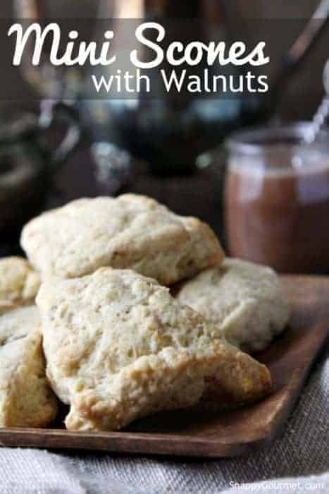 Mini Scones with Walnuts Recipe - easy homemade breaskfast or brunch recipe | SnappyGourmet.com