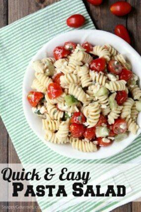 Quick and easy summer pasta salad recipe - Cold Mediterranean pasta salad with Italian Dressing, veggies, and feta. | SnappyGourmet.com
