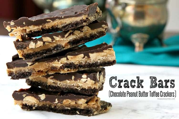 chocolate and peanut butter graham cracker toffee stacked