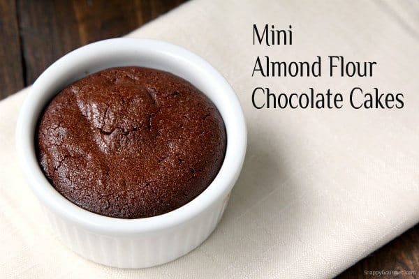 Mini Almond Flour Chocolate Cakes - easy gluten free cake recipe! SnappyGourmet.com