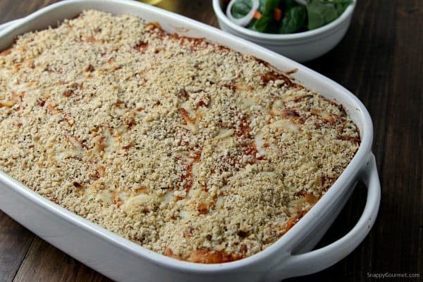 Easy Chicken Parmesan Baked Pasta Recipe - best Italian family friendly dinner or potluck dish! SnappyGourmet.com
