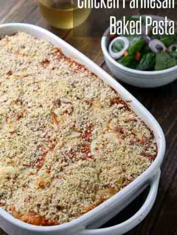 Easy Chicken Parmesan Baked Pasta Recipe - best Italian family friendly dinner or potluck dish! SnappyGourmet.com