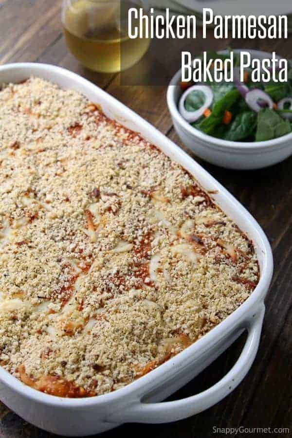 Easy chicken parmesan baked pasta recipe snappy gourmet easy chicken parmesan baked pasta recipe best italian family friendly dinner or potluck dish forumfinder Choice Image