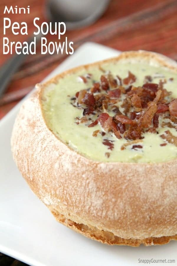 Mini Pea Soup Bread Bowls - easy homemade pea soup recipe! SnappyGourmet.com