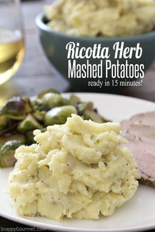 Ricotta Herb Mashed Potatoes - quick and easy mashed potatoes ready in 15 minutes! SnappyGourmet.com