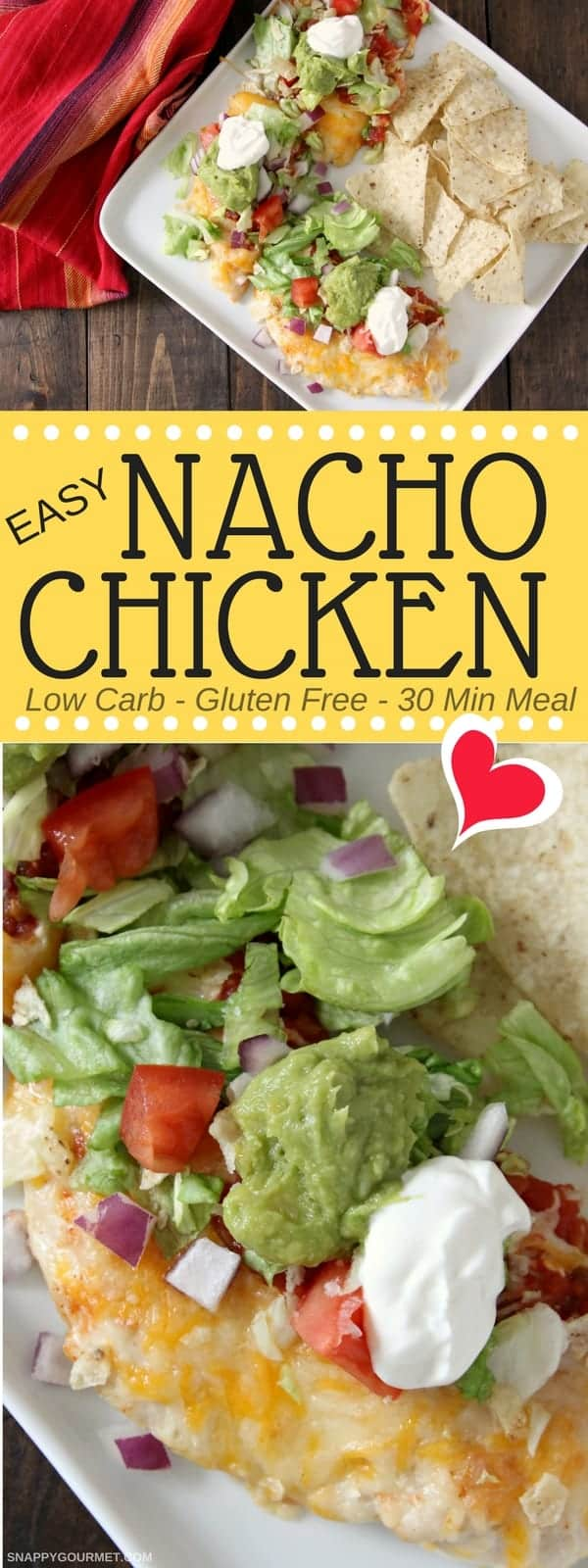 Easy Nacho Chicken - low carb baked chicken recipe. SnappyGourmet.com