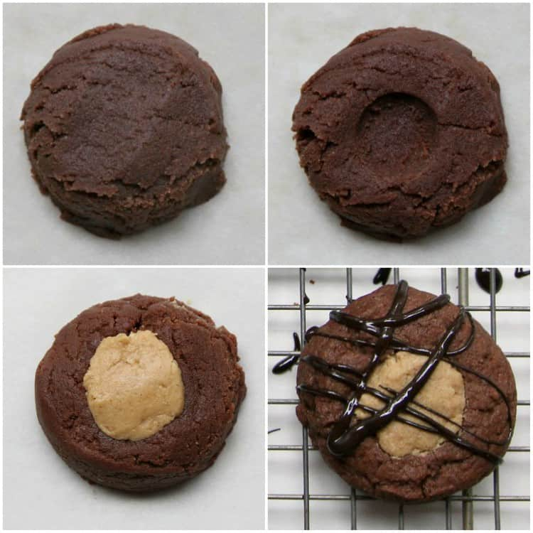 Buckeye Thumbprint Cookies - Chocolate and peanut butter buckeye cookies in 4 easy steps. SnappyGourmet.com