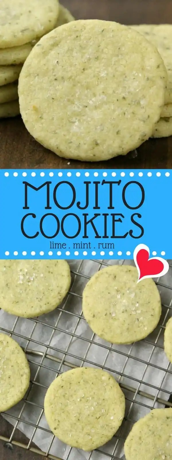 Mojito Cookies Recipe - easy lime, mint, and rum shortbread cookie recipe just like the original mojito cocktail. SnappyGourmet.com