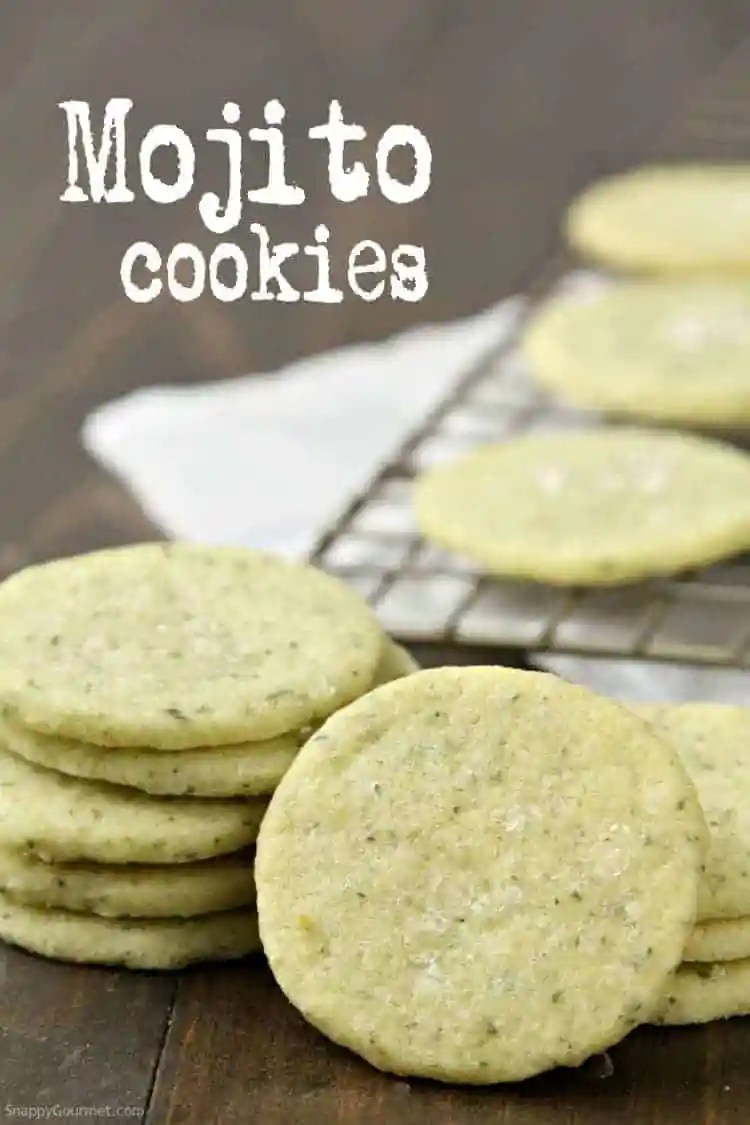 Mojito Cookies Recipe - Easy from scratch shortbread cookie recipe with lime, mint, and rum. SnappyGourmet.com