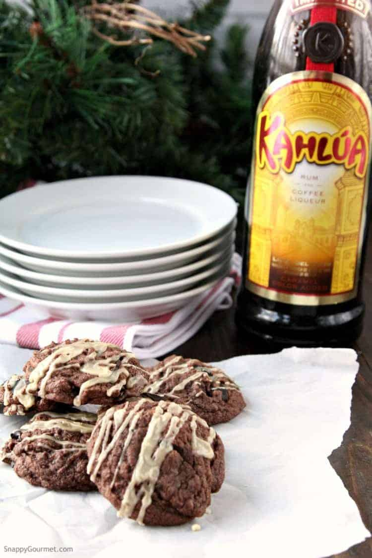 Mudslide Cookies Recipe - The best brownie cookie recipe with Kahlua and Irish Cream just like the Mudslide drink. SnappyGourmet.com