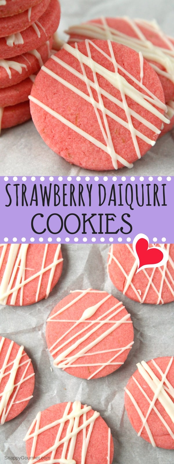 Strawberry Daiquiri Cookies - easy strawberry sugar cookie recipe with strawberry, lime, and rum! SnappyGourmet.com