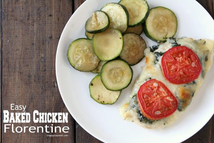 Easy Baked Chicken Florentine Recipe - simple healthy chicken dinner idea! SnappyGourmet.com