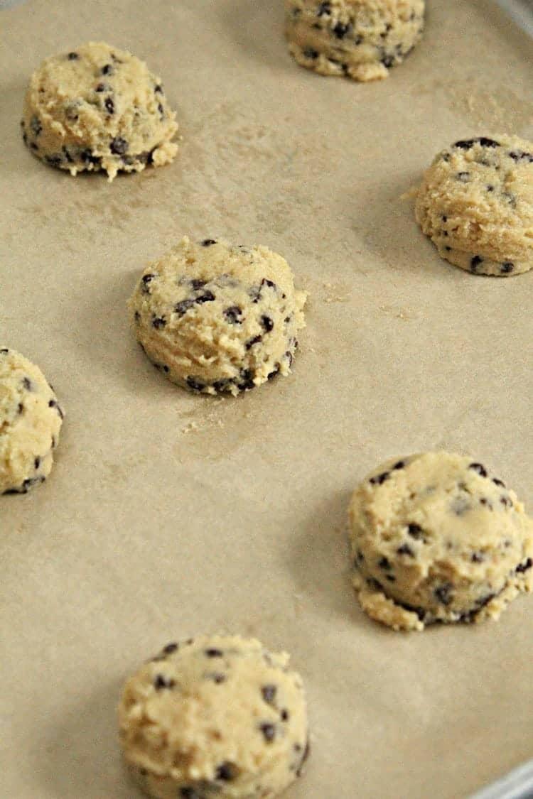 Almond Flour Chocolate Chip Cookies Recipe (dough on pan)