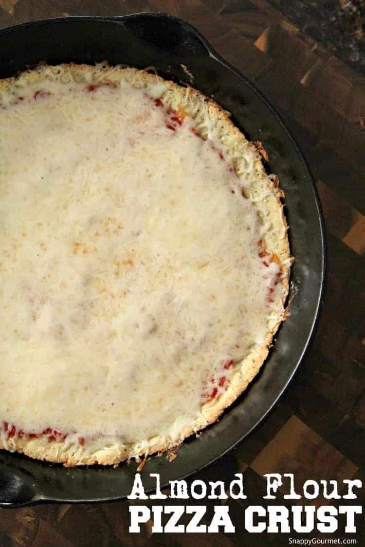 Almond Flour Pizza Crust pizza in cast iron pan