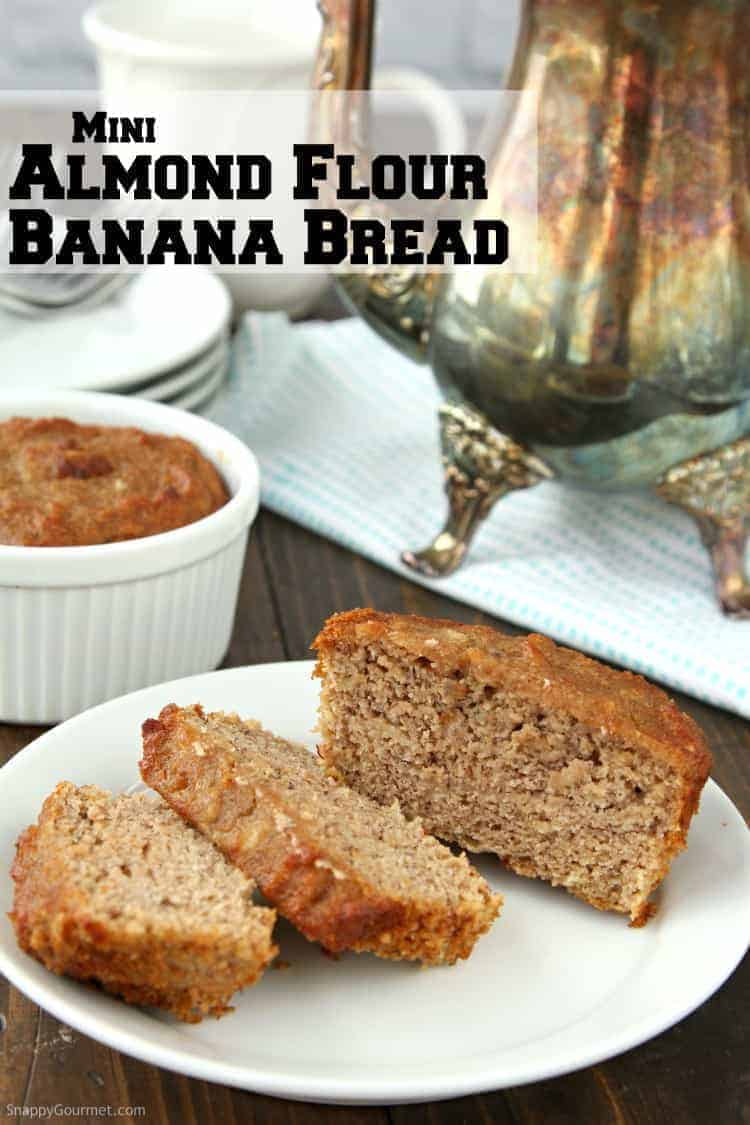 almond flour banana bread loaf sliced on plate