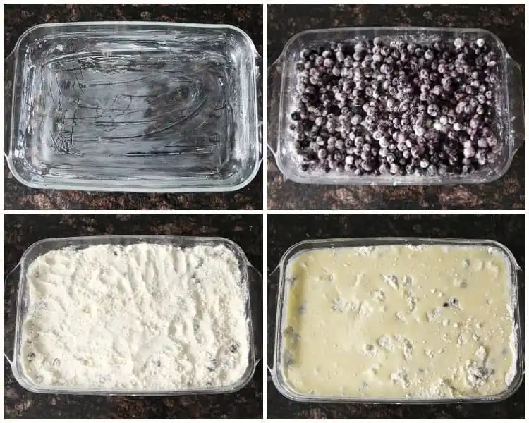 Blueberry Dump Cake Recipe - easy blueberry cobbler like dessert with a cake mix