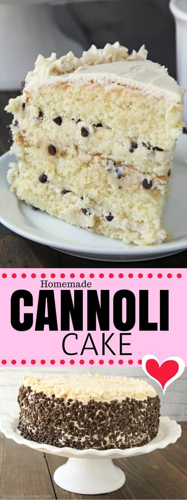 The best Cannoli Cake recipe, an easy from scratch Italian cake with cannoli filling. This layered homemade cannoli cake is full of easy to find ingredients including ricotta, mascarpone, orange zest, and mini chocolate chips. Find out to make a cannoli cake with different flavors for your personal taste. #Cake #Cannoli #Italian #SnappyGourmet #Dessert #Homemade #FromScratch #Easy #Frosting #Cheese