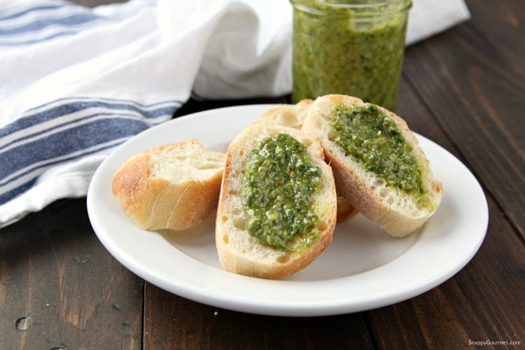 Spinach Basil Pesto Recipe - perfect for adding to chicken, pasta, pizza, and more