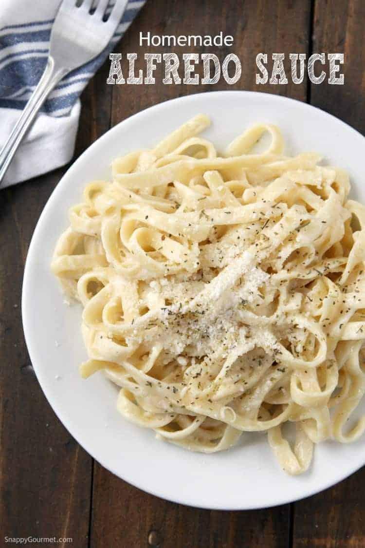 fettuccine alfredo with homemade alfredo sauce on white plate