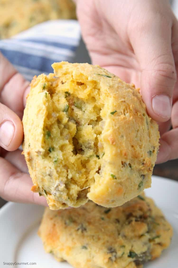 Homemade Cheddar, Chive, and Sausage Biscuits - simple and easy drop biscuits from scratch