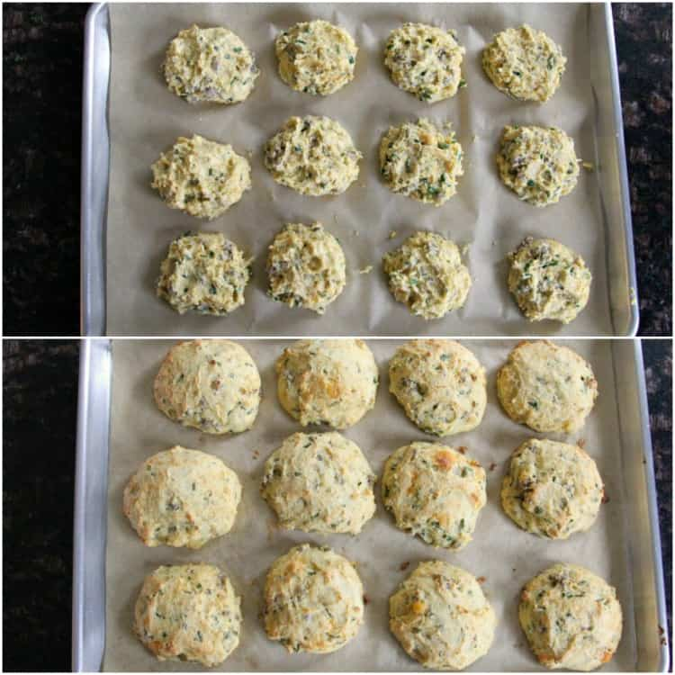 Homemade Cheddar, Chive, and Sausage Biscuits - before and after baking the drop biscuits