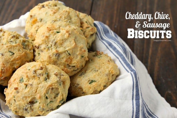 Homemade Cheddar, Chive, and Sausage Biscuits - homemade drop biscuits