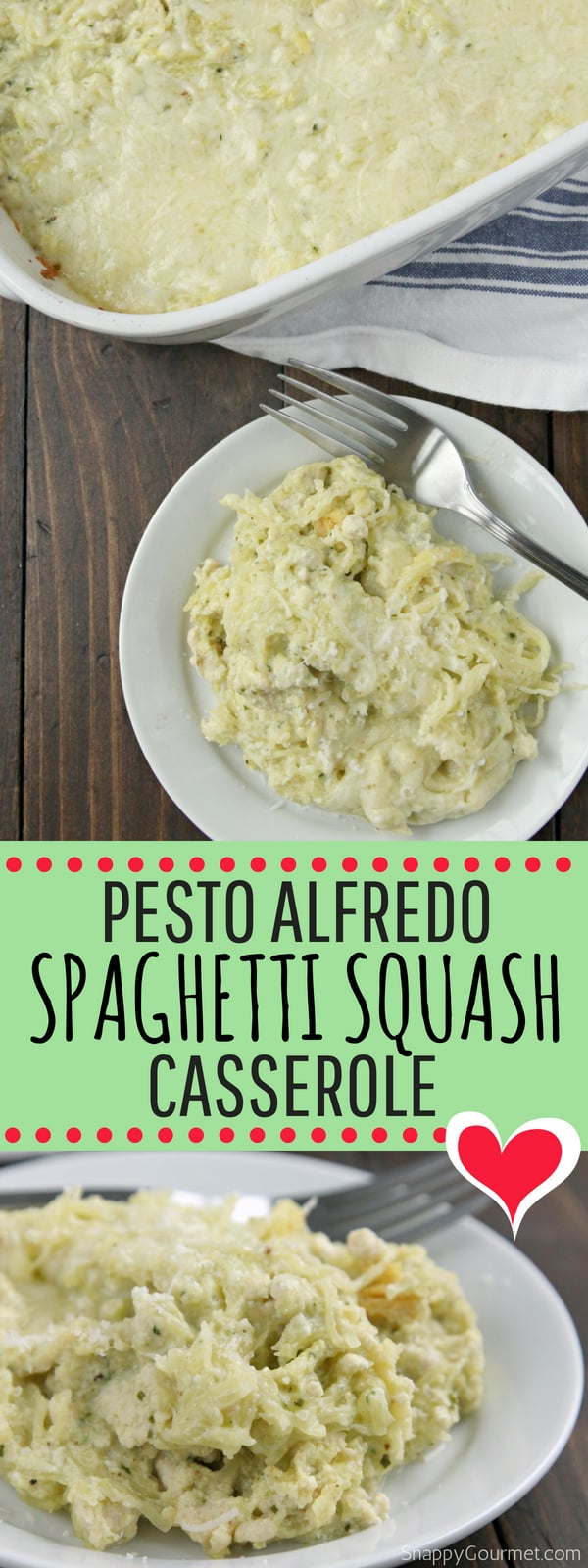 Pesto Alfredo Spaghetti Squash Casserole recipe, a baked spaghetti squash casserole full of flavor! This low carb dinner is a great alternative to pasta and loaded with basil pesto, alfredo sauce, cheese, and spaghetti squash. Even the kids will enjoy! #SpaghettiSquash #Recipe #Casserole #SnappyGourmet #Dinner #Italian #Homemade #Alfredo #Pesto #LowCarb #Chicken