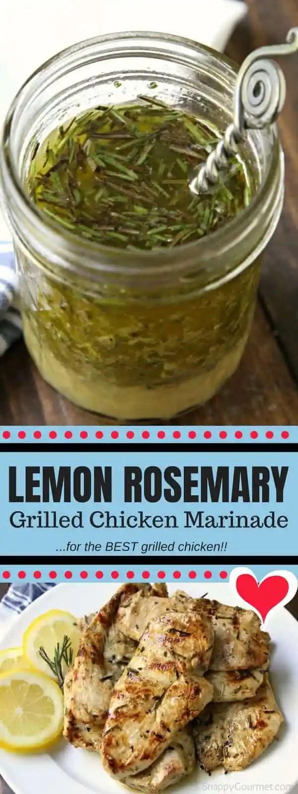 Lemon Rosemary Grilled Chicken Marinade - easy homemade marinade for the best grilled chicken!