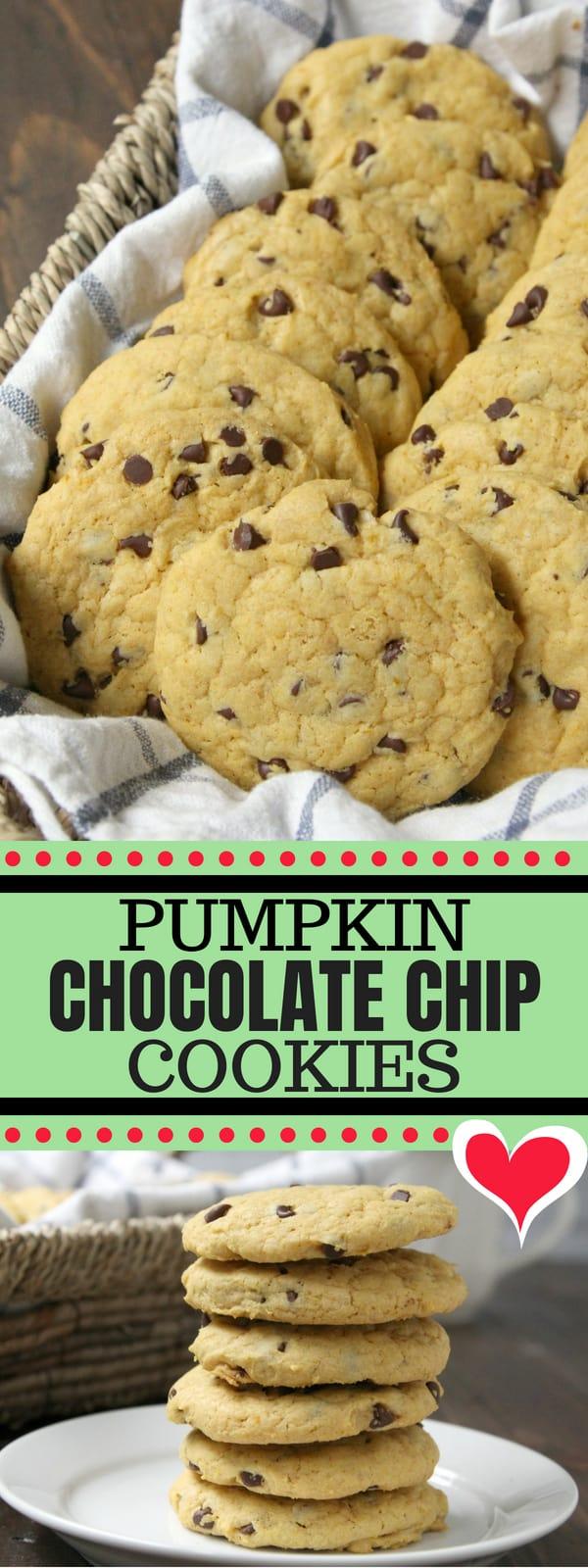 Pumpkin Chocolate Chip Cookies - easy from scratch pumpkin cookie recipe