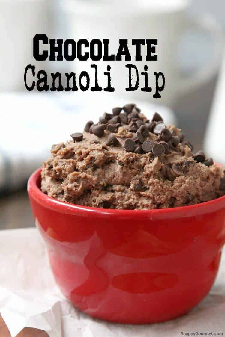 Chocolate Cannoli Dip - easy dip recipe that is great with cannoli chips, apples, and graham crackers