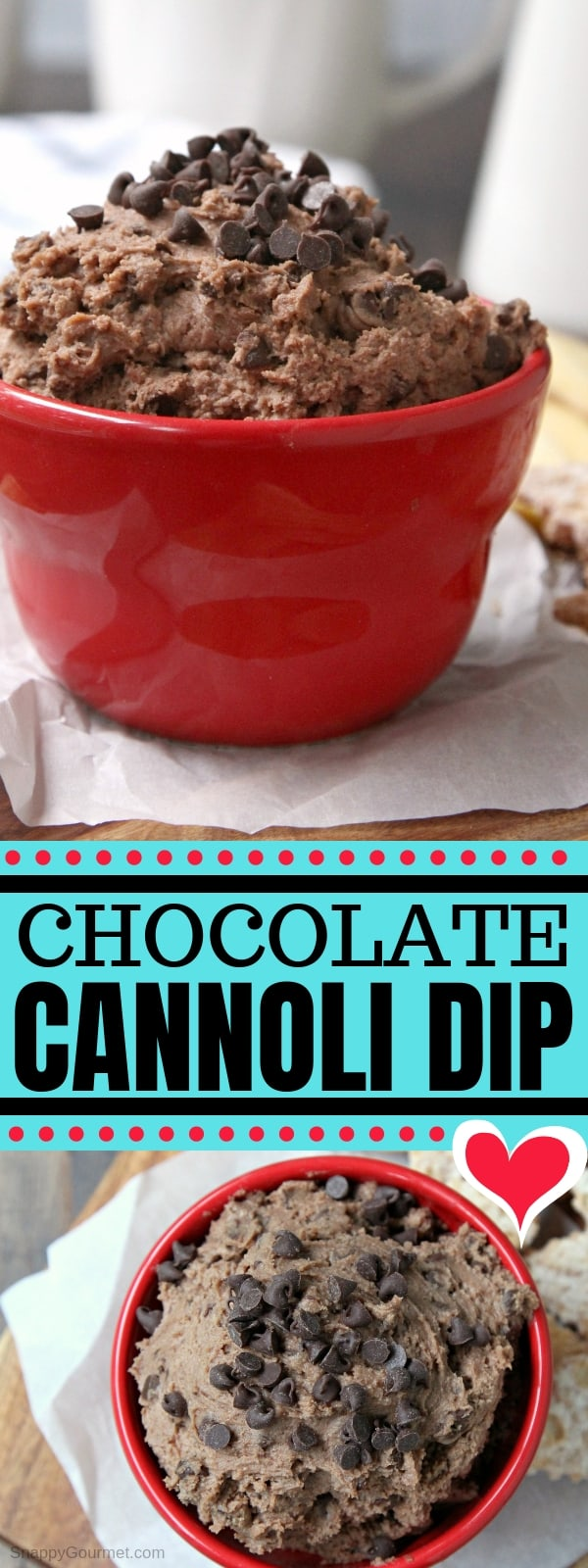 Chocolate Cannoli Dip - an easy cannoli dip recipe! Learn how to make cannoli dip for a fun homemade dessert based on the Italian pastry. The best crowd pleaser and perfect for parties, potlucks, and fun treat! #Cannoli #Italian #Chocolate #SnappyGourmet #Dessert #Homemade #Dip #Potluck #PartyFood