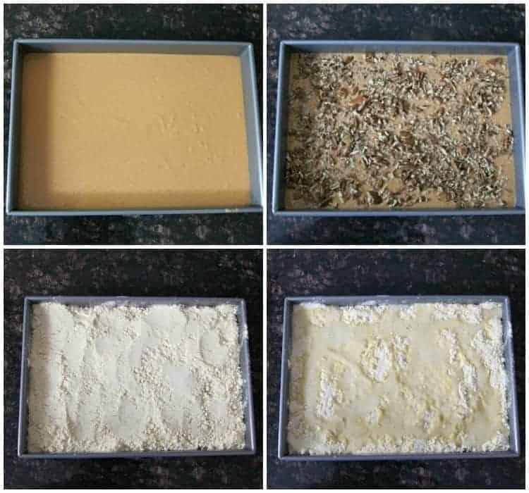 Pumpkin Dump Cake - simple fall recipe with pumpkin, nuts, and cake mix