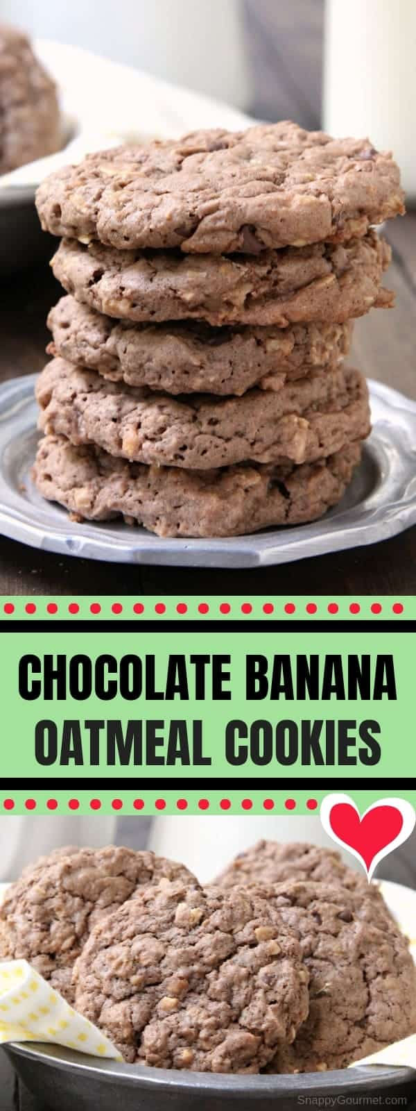 Chocolate Banana Oatmeal Cookies - easy homemade cookie recipe