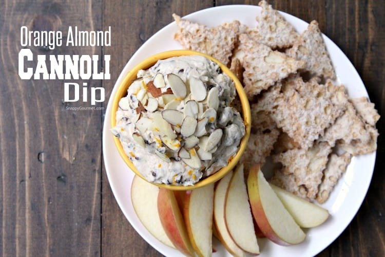 Cannoli Dip (Orange Almond) - easy cannoli dip recipe with ricotta and mascarpone