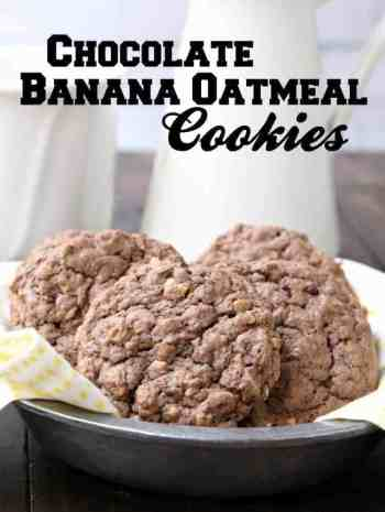 Chocolate Banana Oatmeal Cookies - easy cookie recipe from scratch