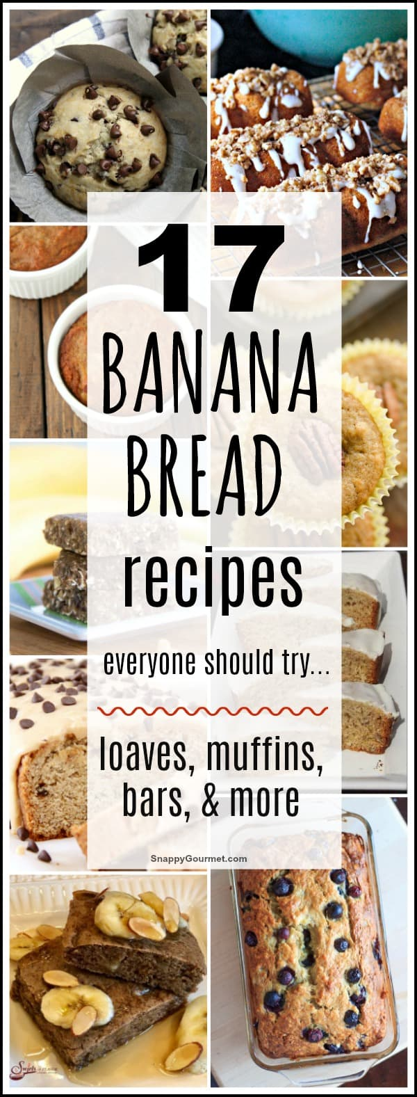 Banana Bread recipes including muffins, loaves, and bars