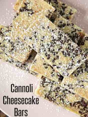 Cannoli Cheesecake Bars on pink plate