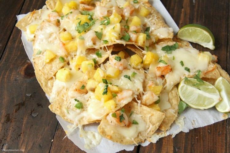 shrimp nachos on table