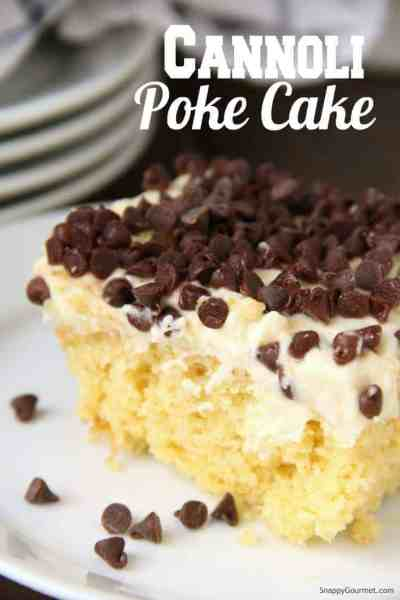 Cannoli Poke Cake on plate with filling topping