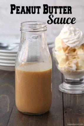 peanut butter sauce in glass bottle