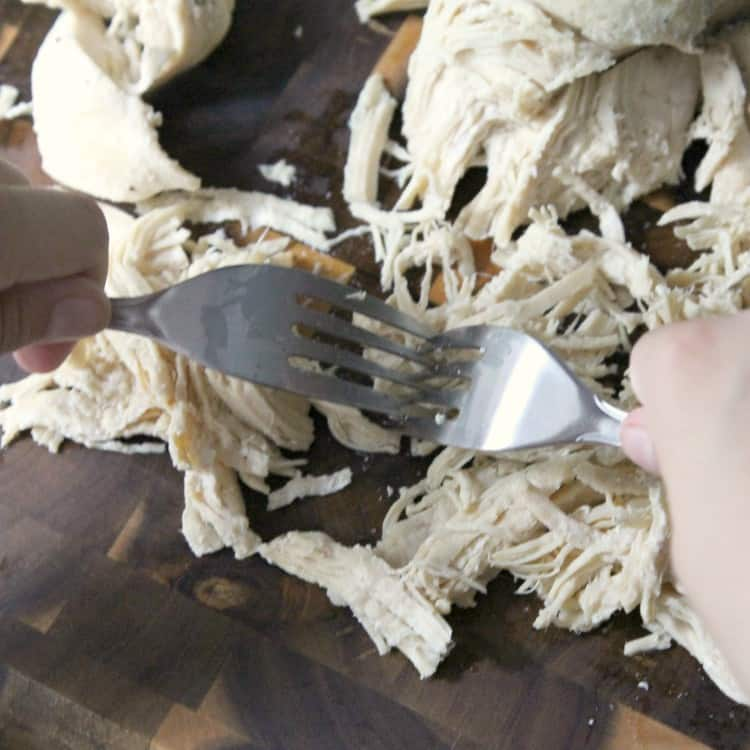 shredding chicken with two forks