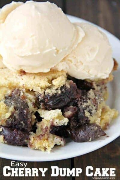 Cherry Dump Cake closeup with ice cream
