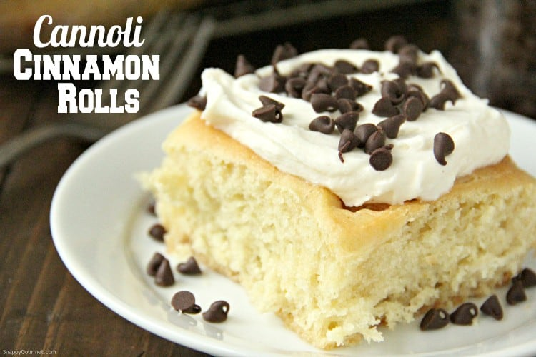 Cannoli Cinnamon Rolls on plate with fork
