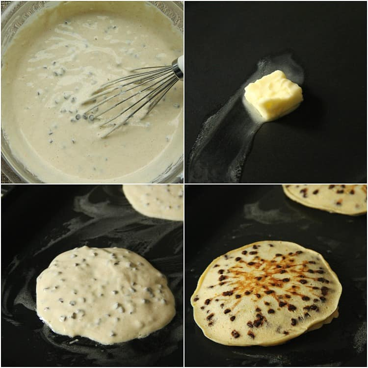 cannoli pancake batter, butter, and baking on pan
